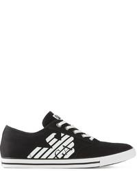 Emporio Armani Ea7 Logo Print Canvas Sneakers