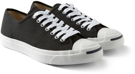 b835f779ba0b ... Black and White Canvas Low Top Sneakers Converse Jack Purcell Canvas  Sneakers ...