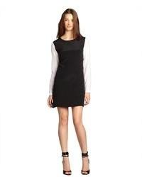 Wyatt Black And Ivory Silk Colorblocked Shift Dress