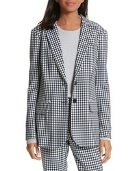 Tibi Gingham Zipper Back Blazer