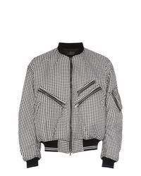 Black and White Check Bomber Jacket