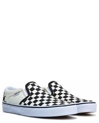Black and White Check Canvas Slip-on Sneakers