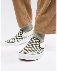 Vans Slip On Checkerboard Plimsolls In Black Veyebww