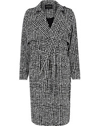 River Island Black Check Draped Trench Coat