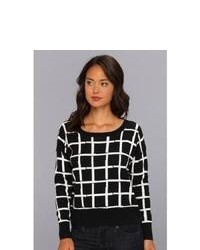 Black and White Check Crew-neck Sweater