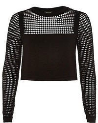 River Island Black Grid Mesh Top
