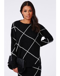Missguided Grid Check Knitted Sweater Black