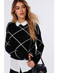 Missguided Grid Cropped Knitted Sweater Black