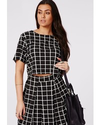 Missguided plus size grid print crop top medium 123061