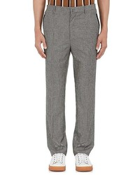 Lanvin Checked Wool Flannel Flat Front Trousers