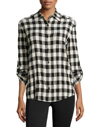 Black and White Check Dress Shirt
