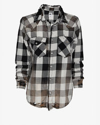 Destroyed buffalo check shirt medium 106257