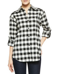Alice + Olivia Piper Check Button Down Shirt With Leather Tabs