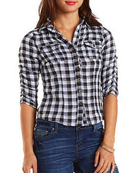 Charlotte Russe Ruched Sleeve Button Up Plaid Top