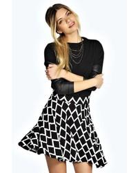 Boohoo Gina Grid Print Skater Skirt