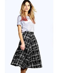 Boohoo Emmie Sketchy Grid A Line Box Pleat Midi Skirt