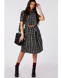 Missguided Plus Size Grid Print Midi Skirt