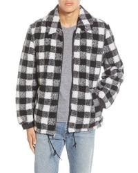 Black and White Check Harrington Jacket