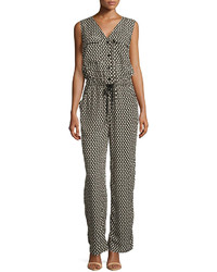 Max Studio 3d Grid Print Knit Jumpsuit Blackivory