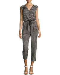 Max Studio Speckled Check Jumpsuit Blackivory