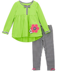Nannette Green Check Flower Tunic Leggings Infant Toddler Girls