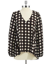 Black and White Check Long Sleeve Blouse