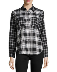 French Connection Check Print Button Up Blouse Blackwhite