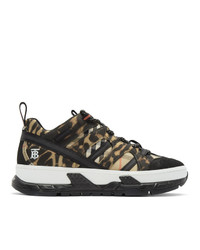 Burberry Black And Beige Union Leopard Sneakers