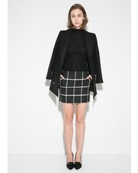 Black and White Check Mini Skirt