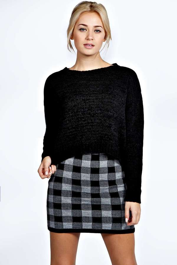 e21b61609 Boohoo Rosie Knitted Checked Mini Skirt, $16 | BooHoo | Lookastic.com