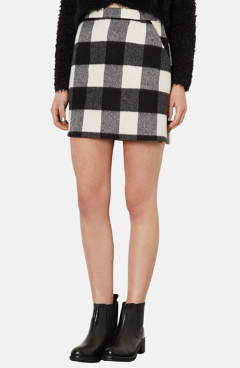 Topshop Brushed Gingham A Line Skirt Monochrome 2 | Where to buy ...