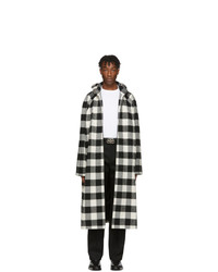 Balenciaga Black And White Flannel Hooded Coat