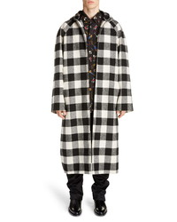 Balenciaga Hooded Zip Check Coat