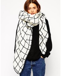 Collection oversized grid check square scarf medium 320562