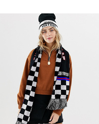 Reclaimed Vintage Inspired Oversized Scarf In Logo Checkerboard Print With Tassels