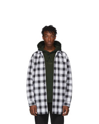 Acne Studios Acne S Black And White Plaid Quilted Overshirt