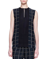 Checked slit front blouse medium 291719