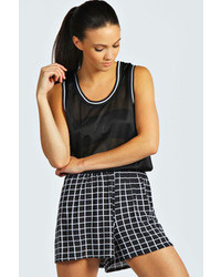 Boohoo naya grid check print flippy shorts medium 76633