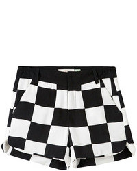 Twin pockets black white checks shorts medium 76632