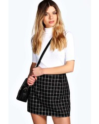 Boohoo bobbie jacquard check midi skirt medium 141405