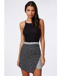 Missguided Contrast Check Asymmetric Skirt Black