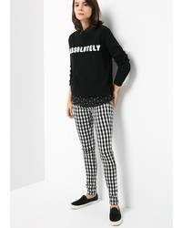 Black and White Check Skinny Pants