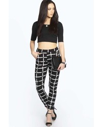 Boohoo Kiki Grind Print Tapered Trousers