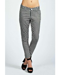Boohoo Claire Gingham Checked 78th Slim Leg Trousers