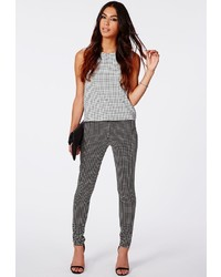 Missguided Alicia Check Skinny Fit Trousers Black