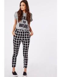 Missguided Alisia Grid Print Tapered Leg Trousers Black