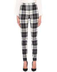 Max Mara Tartan Skinny Stretch Wool Trousers