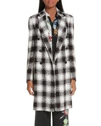 Black and White Check Tweed Coat