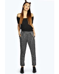 Boohoo esmay check relaxed turn up boyfriend pants medium 123089