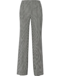 Oscar de la Renta Checked Wool Silk And Linen Blend Wide Leg Pants